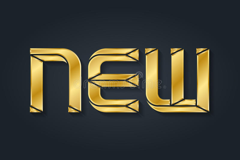 New - inscription. Luxury gold letters vector illustration