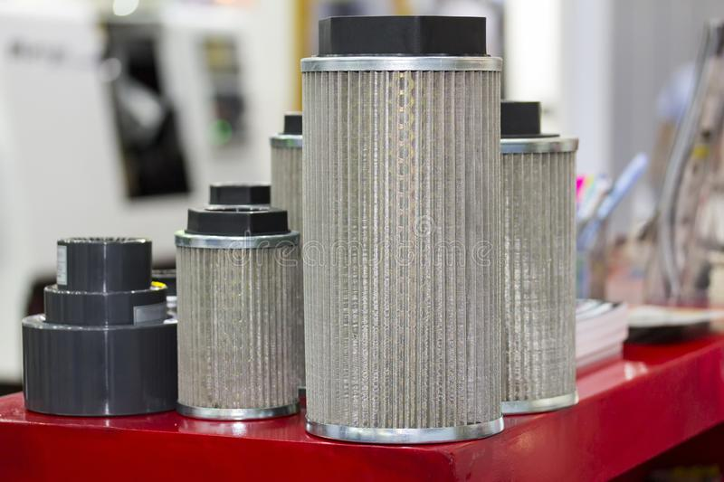 New intake gas and  air and oil suction filter elements for industrial stock images