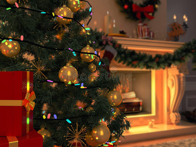 New interior with Christmas tree, presents and fireplace. Postcard. The illustration shows New interior with Christmas tree, presents and fireplace. Postcard stock image