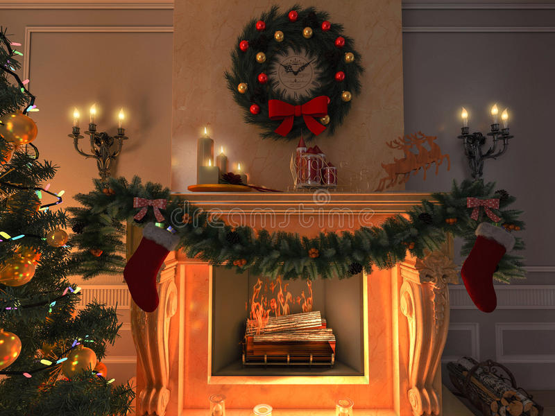 New interior with Christmas tree, presents and fireplace. Postcard. The illustration shows New interior with Christmas tree, presents and fireplace. Postcard stock illustration