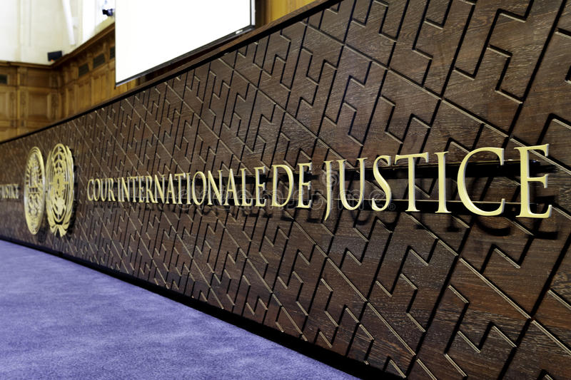 New International Court of Justice board. International Court of Justice Bench in the Great Hall of Justice of the Peace Palace, The Haag, Netherlands. Principal stock photo