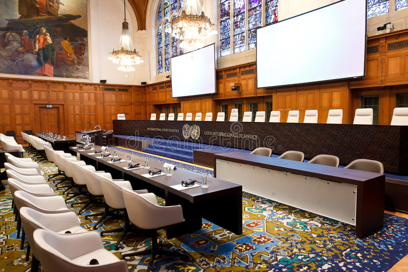 New International Court of Justice Courtroom. International Court of Justice Hearing in the Great Hall of Justice of the Peace Palace, The Haag, Netherlands stock photos