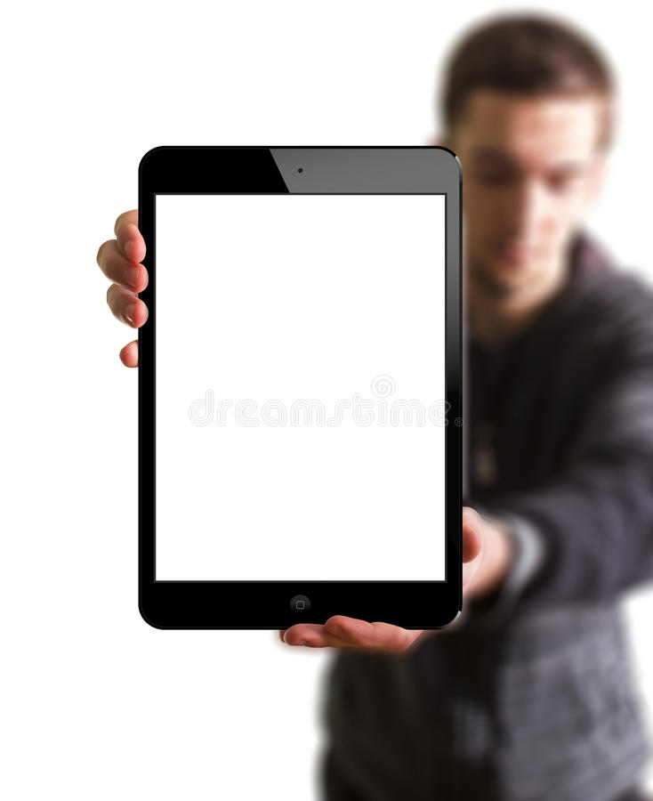 A new Ipad in hands royalty free stock photos