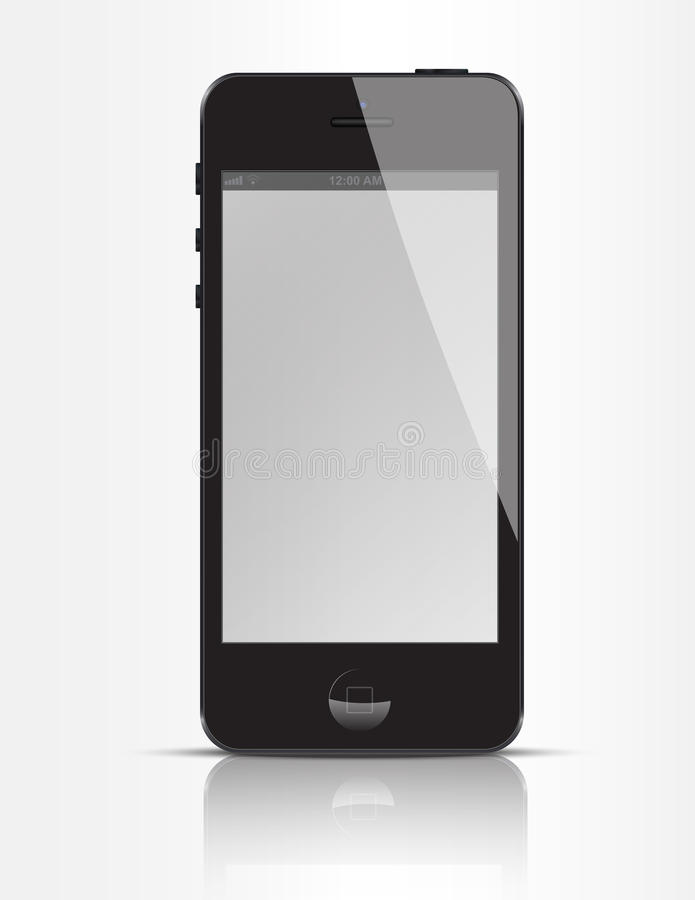 New iPhone 5 Black. This is an illustration of the new Apple iPhone 5. The iPhone 5 is a touchscreen slate smartphone developed by Apple. It is the sixth royalty free illustration
