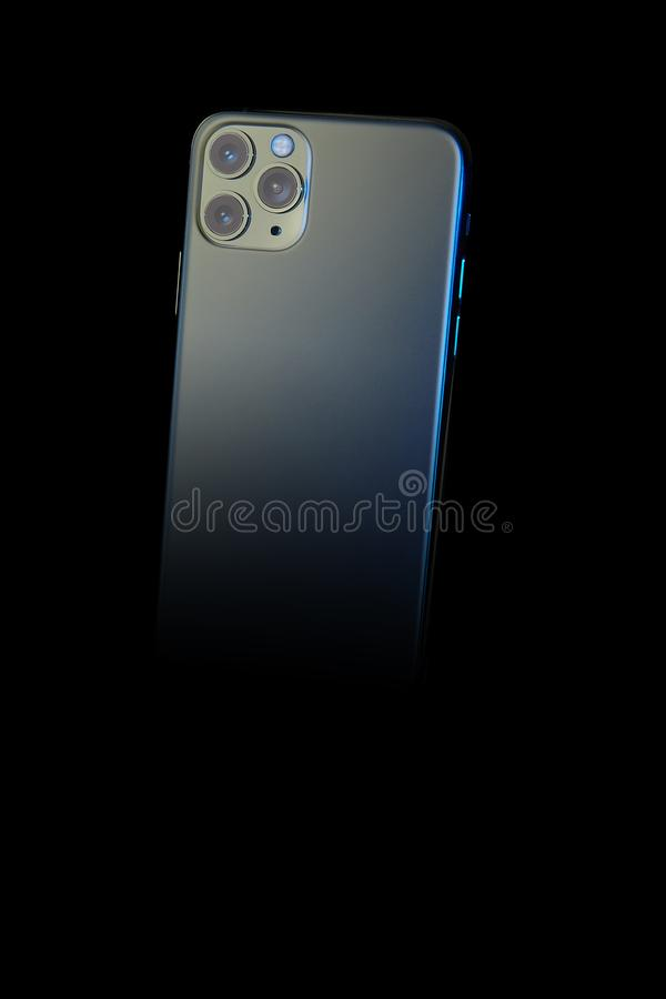 New Iphone 11 Pro over black royalty free stock photo