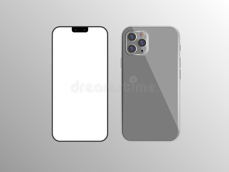 New Iphone 11 vector flat graphic illustration. Smartphone mock up frameless blank screen isolated on background. Front vector illustration