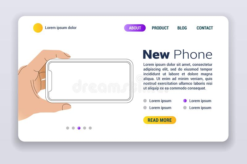 New Iphone 11 vector flat web banner. Smartphone mock up frameless blank screen isolated on background. Concept for app, web, presentation, UI UX development vector illustration