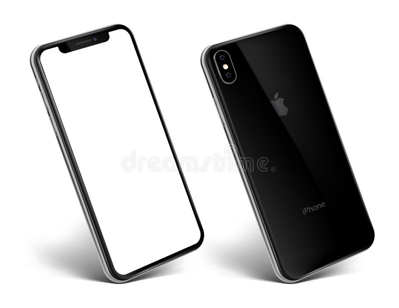 New iPhone Xs black view at an angle royalty free stock images