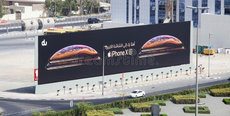 The new Iphone X and XS commercial for sale in Dubai roads. DUBAI, UAE - SEPTEMBER 25 2018: the new Iphone X and XS commercial for sale in Dubai roads royalty free stock images