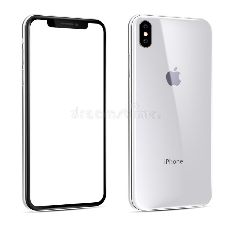 New iPhone Xs white view at an angle stock illustration