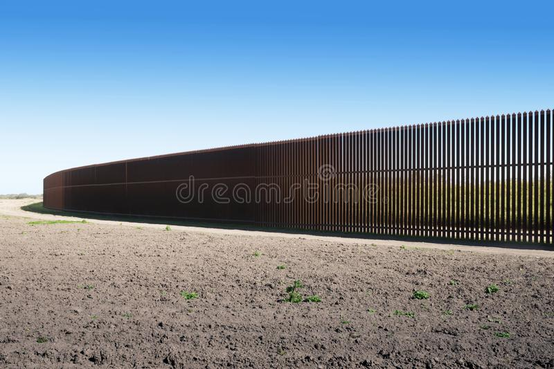New iron U.S.-Mexico border fence in Texas. New iron USA-Mexico border fence in Texas. Among the U.S. states, Texas has the longest stretch of the border with stock photo