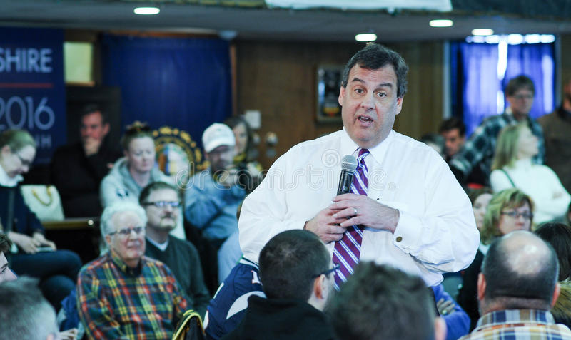 New Jersey Governor Chris Christie speaks in Portsmouth, NH, January 24, 2016. stock photography