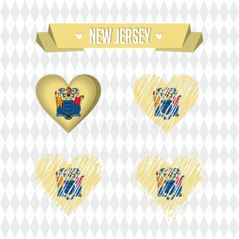 New Jersey Inzameling van vier vectorharten met vlag Hartsilhouet royalty-vrije illustratie