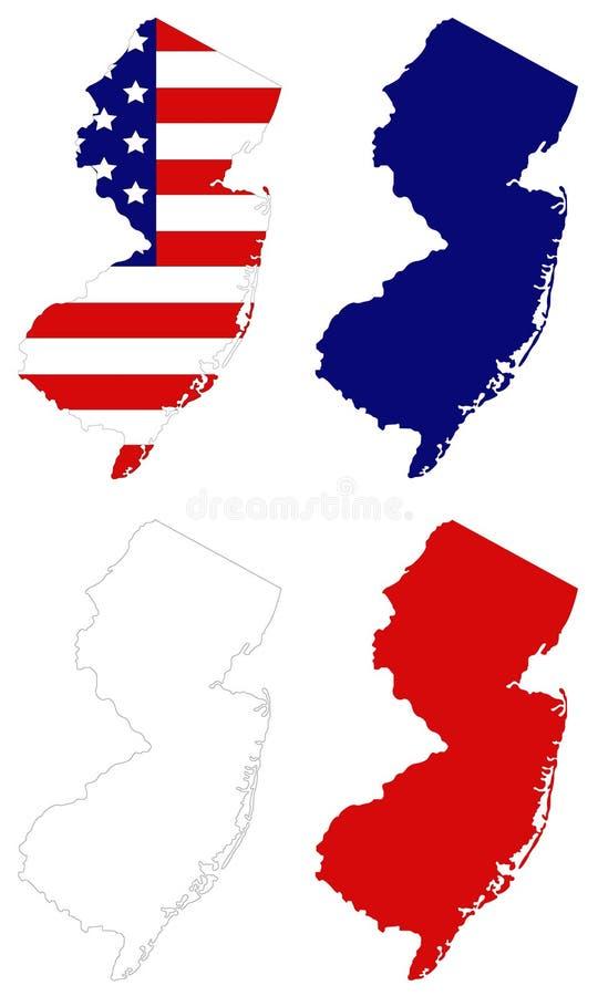 New-Jersey Karte mit USA-Flagge - Zustand in der Mittel-atlantischen Region des Nordostens der Vereinigter Staaten stock abbildung
