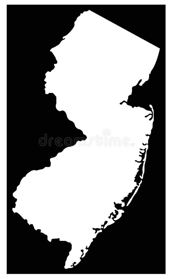 New-Jersey Karte - Zustand in der Mittel-atlantischen Region des Nordostens der Vereinigter Staaten lizenzfreie abbildung