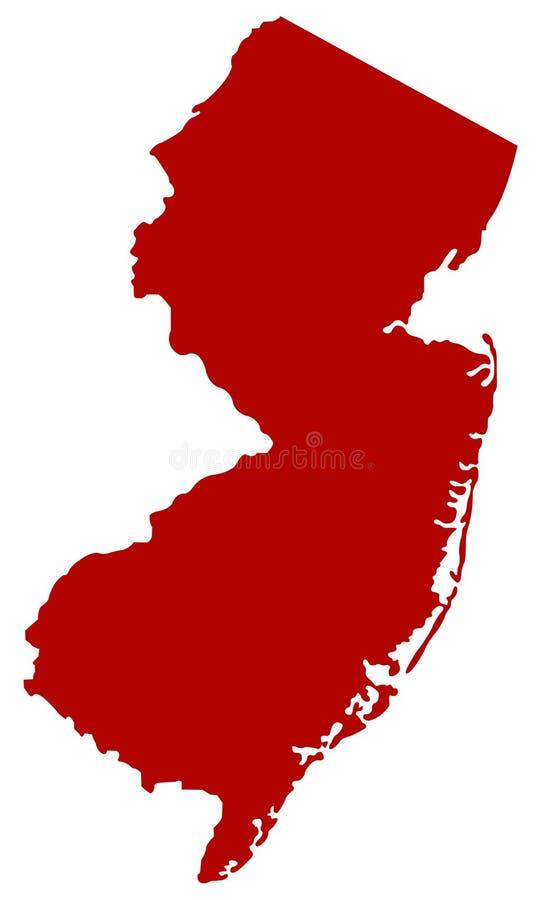 New-Jersey Karte - Zustand in der Mittel-atlantischen Region des Nordostens der Vereinigter Staaten vektor abbildung