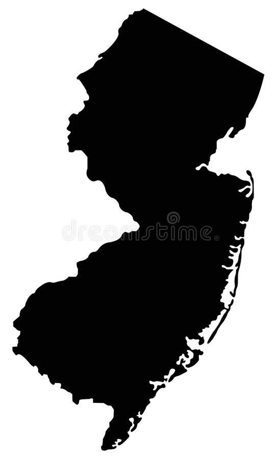 New Jersey map - state in the United States o America stock illustration