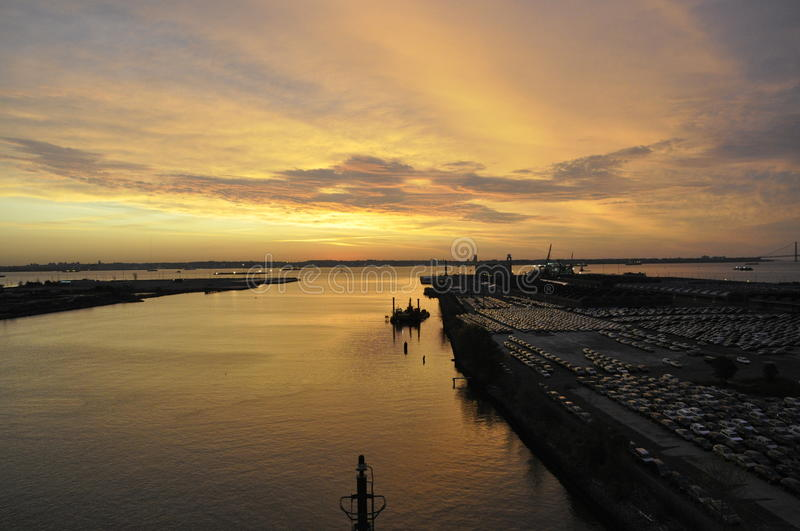 Download New Jersey Port stock photo. Image of dawn, shipping - 32844152