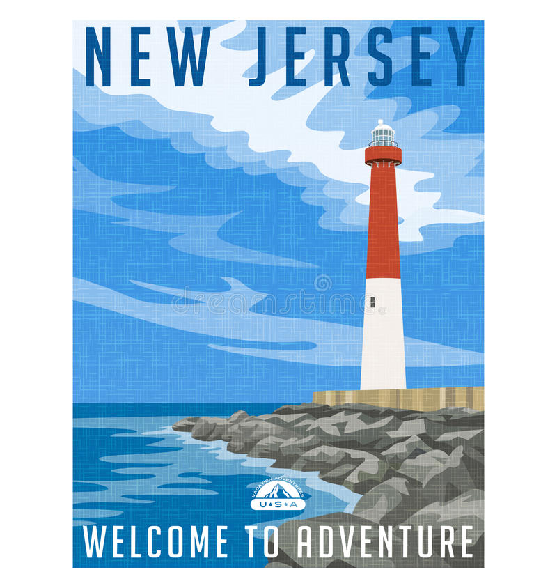 New-Jersey Reiseplakat oder -aufkleber lizenzfreie abbildung
