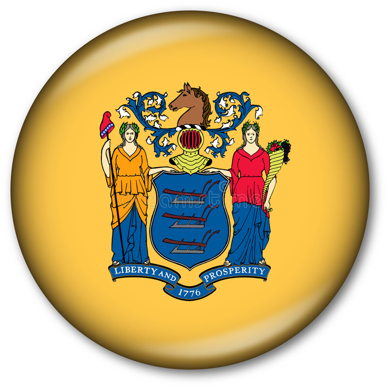 New Jersey State Flag Button stock illustration