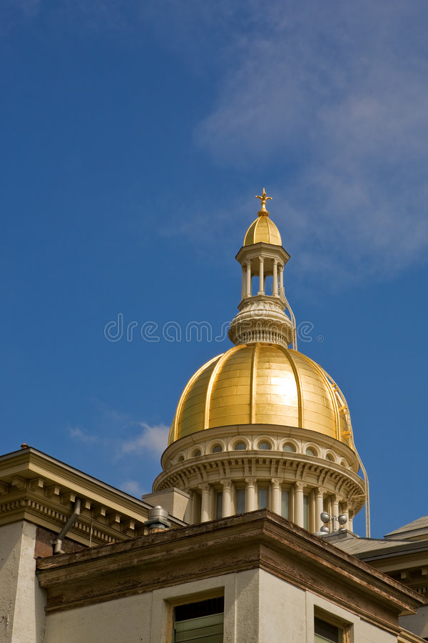 New Jersey State House Dome. A view of New Jersey's State House dome, with copyspace royalty free stock image