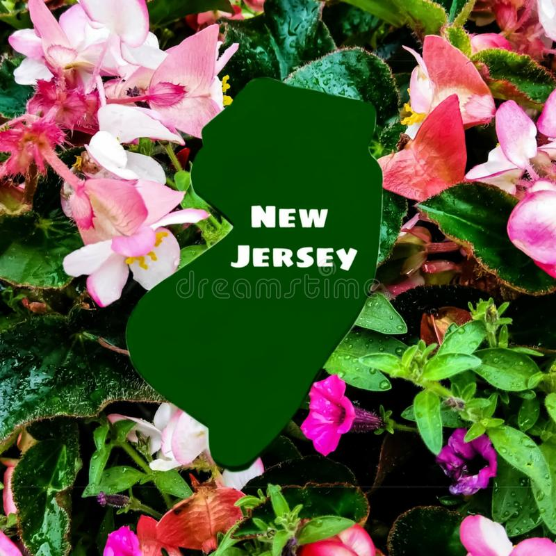 New Jersey State Logo In A Garden, New Jersey Is The Garden State royalty free stock images