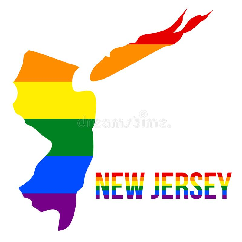 New Jersey State Map in LGBT Rainbow Flag Comprised Six Stripes With New Jersey LGBT Text. The Flag Comprised Six Stripes; Meaning to Each of The Colors: Life vector illustration