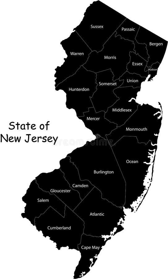 New Jersey tillstånd stock illustrationer