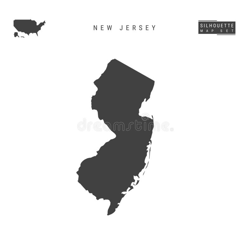 New Jersey US State Vector Map Isolated on White Background. High-Detailed Black Silhouette Map of New Jersey stock illustration