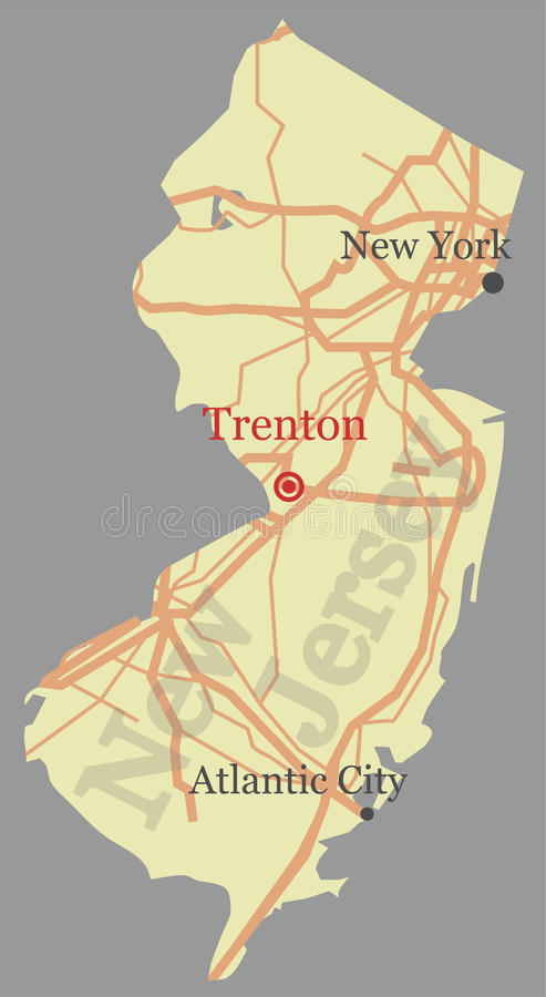 New Jersey vector accurate high detailed State Map with Community Assistance and Activates Icons Original pastel Illustration royalty free illustration
