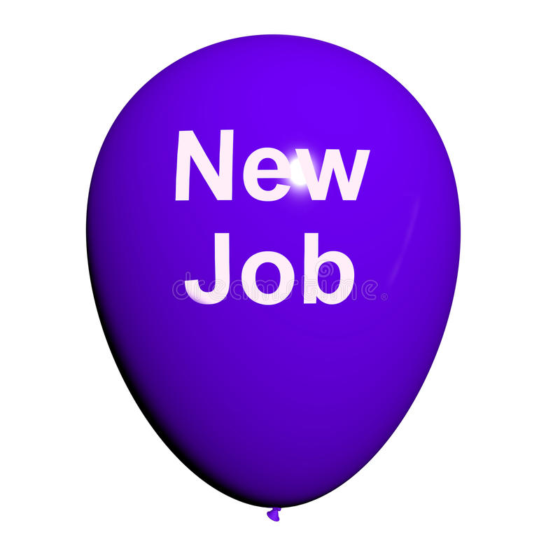 Download New Job Balloon Shows New Beginnings In Careers Stock Illustration - Illustration: 38118972