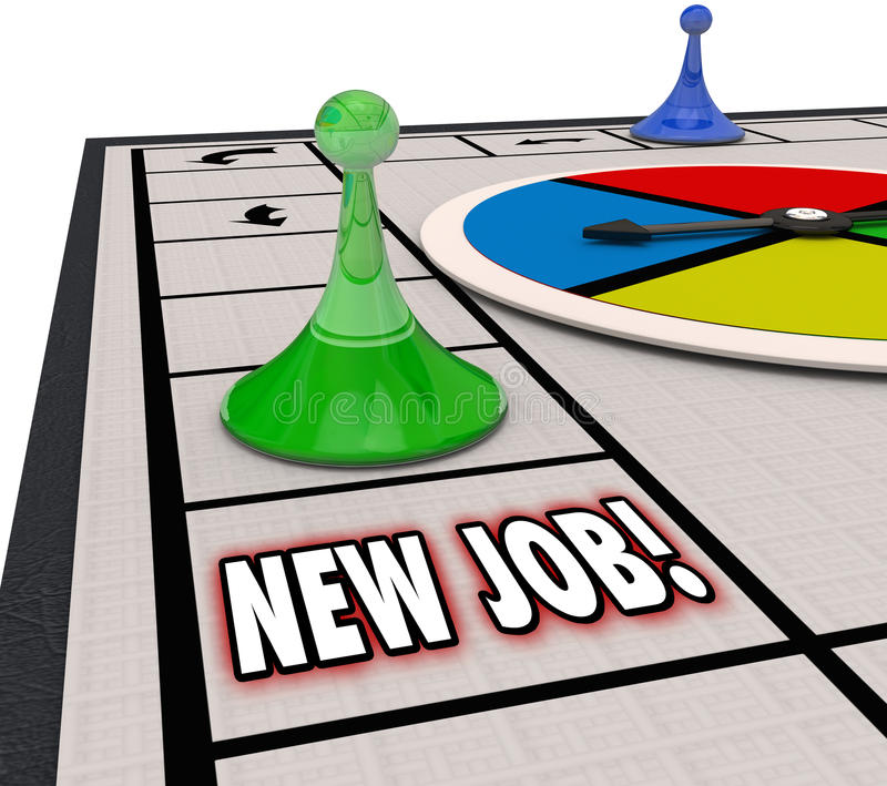 New Job Board Game Finding Landing Career Move Promotion Advanci royalty free illustration