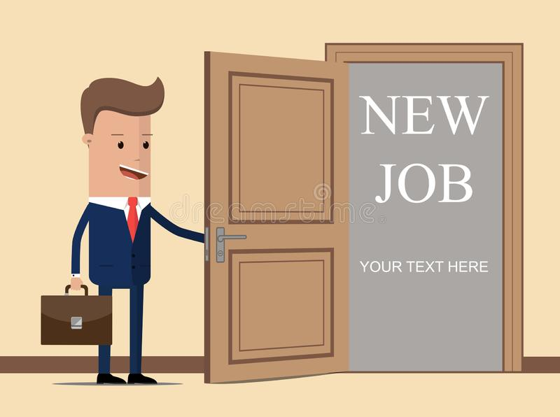 New job for businessman. New job concept. Man opens door looking for work. Successful businessman in suit with briefcase. Beginnin stock illustration
