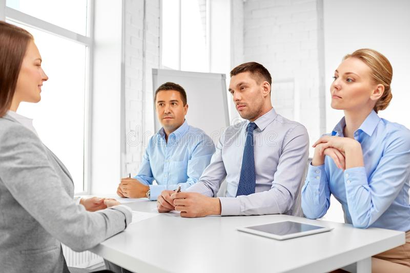 Recruiters having job interview with employee stock photo