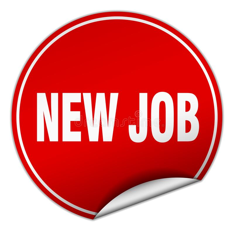 New job sticker. New job round sticker isolated on wite background. new job stock illustration