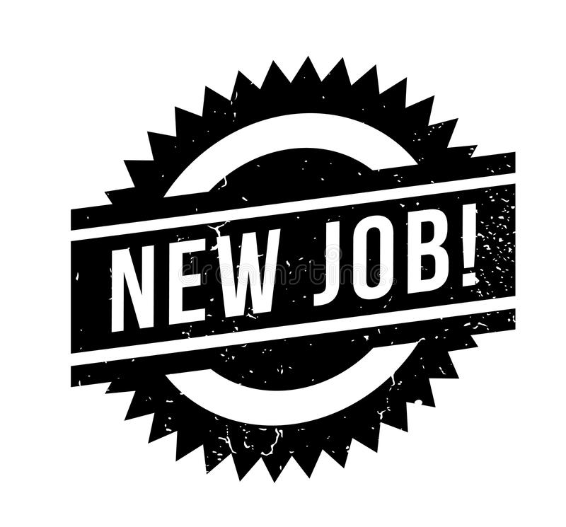 New Job rubber stamp. Grunge design with dust scratches. Effects can be easily removed for a clean, crisp look. Color is easily changed stock illustration