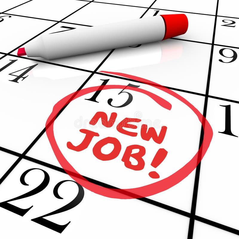 Calendar Illustration Job : New job starting date day circled calendar stock