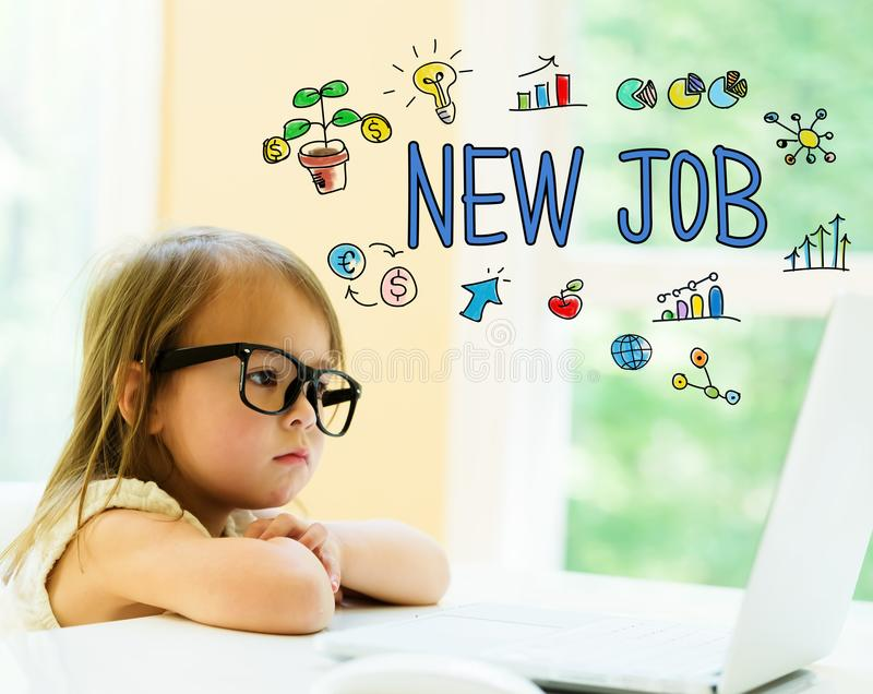 New Job text with little girl. Using her laptop royalty free stock photography