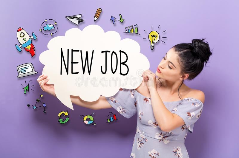 New Job with woman holding a speech bubble. New Job with young woman holding a speech bubble stock images
