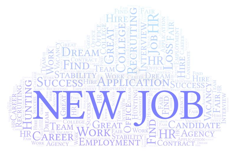 New Job word cloud. Wordcloud made with text only stock illustration