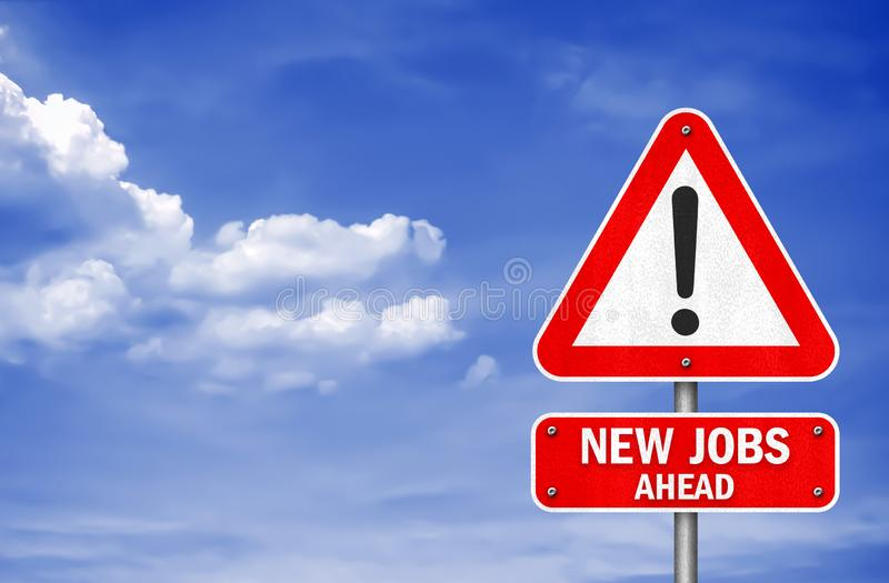 New Jobs ahead road sign message royalty free stock photo