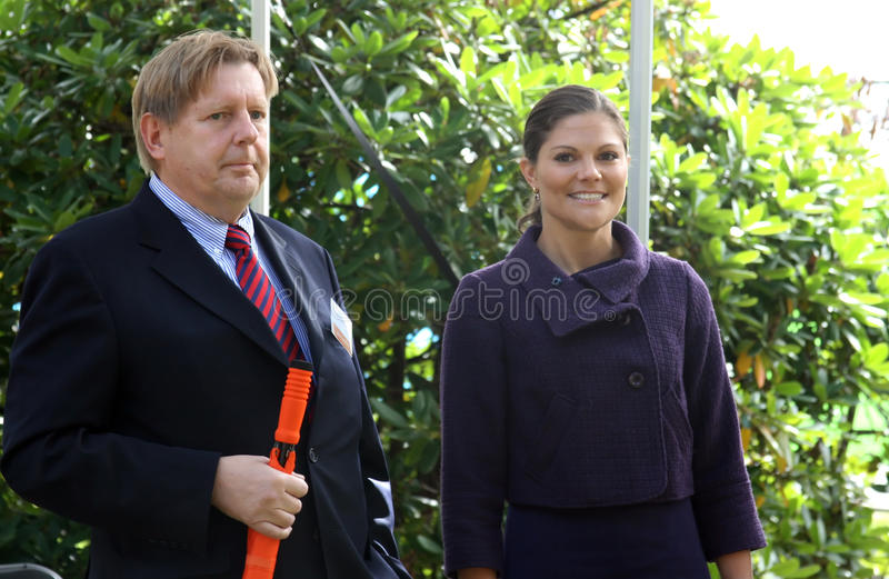 New Karolinska Solna. STOCKHOLM, SWEDEN- SEPTEMBER 3: Her Royal Highness Crown Princess Victoria and Lennart Persson at the ground-breaking ceremony for Sweden stock images