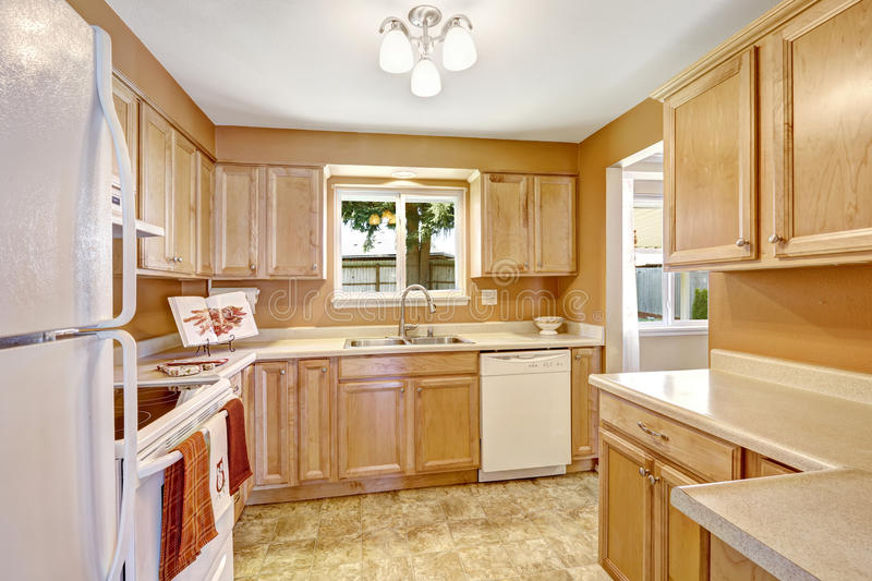 New kitchen cabinets with white appliances stock image for White stock cabinets