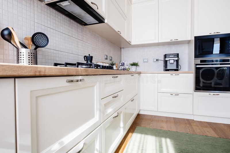 New kitchen interior, modern design and furniture royalty free stock image