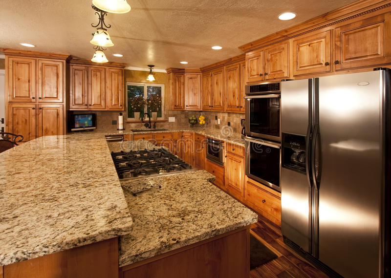 New kitchen island stock photos