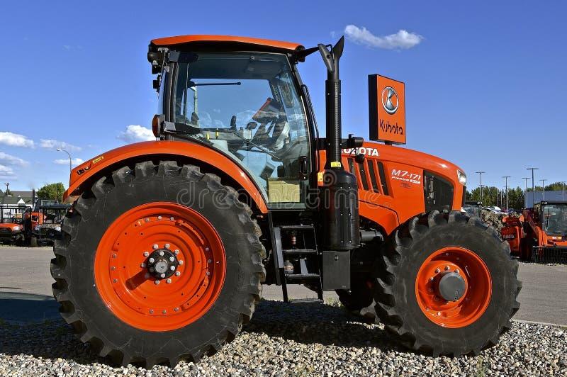 New Kubota M7-171. FARGO, NORTH DAKOTA, Aug 12, 2017: The Kubota M7-171 tractor on display is a of product of Kubota Corporation, a tractor and heavy equipment royalty free stock photos