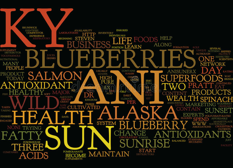 The New Ky Ani Sun The Antioxidant Leader Text Background Word Cloud Concept stock illustration
