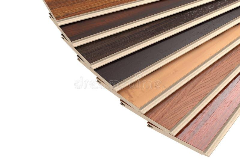 New Laminate Parquet Floor Planks of Different Colors. 3d Render stock image