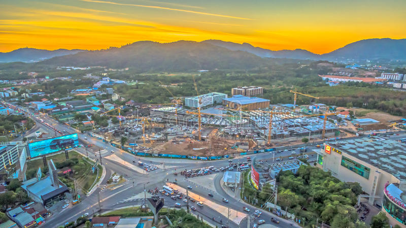 The new land mark in Phuket Darasamuth intersection. The new land mark Darasamuth intersection the main road of Phuket city there have new construction for royalty free stock photography