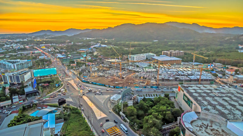 The new land mark in Phuket Darasamuth intersection. The new land mark Darasamuth intersection the main road of Phuket city there have new construction for stock image